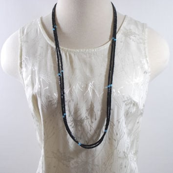 Long Black Two Strands With Blue Ascent Elegant Women's Necklace