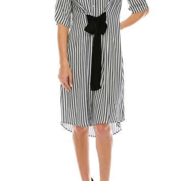 Stripe shirt dress with sash belt