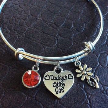 Daddy's Little Girl with Ruby July Birthstone Bracelet Silver Expandable Adjustable Wire Bangle Charm Bracelet Kid's