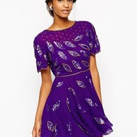 Virgos Lounge | Virgos Lounge Gia Skater Dress With All Over Embellishment and Cowl Back at ASOS
