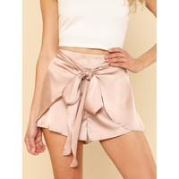 Pink Regular Mid Waist Wrap Shorts