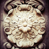 Vintage Rustic Wooden Flower Art Print Photo Door Photography Jersey City Architecture Industrial Home Decor Black and Cream Neutral Decor