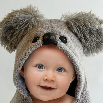 Baby Koala Bear, Hooded Baby Towel, Fleece Applique and Trim, Minky Shaggy Cuddle Ears, Name Embroidered, 12 - 18 Months, 18 Month - 3 Year