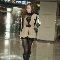 Buy Korean Style Color Splicing Lady's Coat Camel with cheapest price|wholesale-dress.net