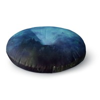 "888 Design ""Blue Night Forest"" Blue Black Round Floor Pillow"