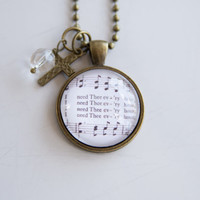 Music Pendant Necklace - I Need Thee Every Hour - Inspirational Jewelry - Music Jewelry - Church Hymn Necklace - Christian Jewelry - Cross