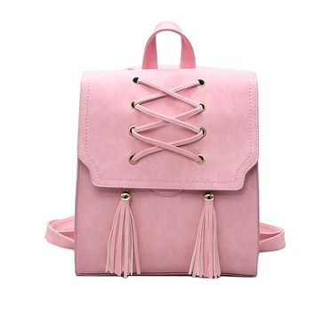 Leather Lace up and Fringed Backpack 4 Colors
