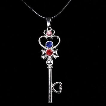 Sailor moon oblivion blade heart key crystal necklace