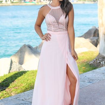 Blush Jeweled Top Maxi Dress with Tulle Back