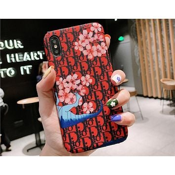 DIOR Tide brand floral dinosaur print iPhone7plus mobile phone case cover #3