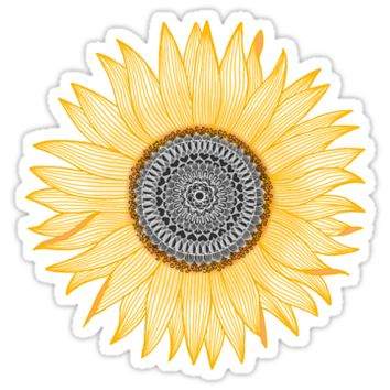 'Golden Mandala Sunflower' Sticker by paviash