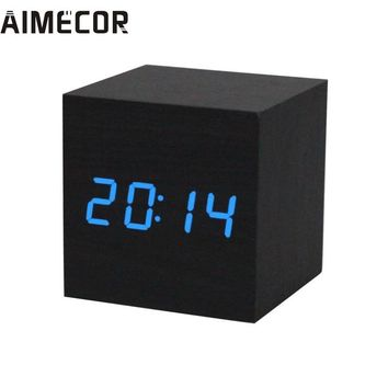 Fashion Heaven Digital LED Black Wooden Wood Desk Alarm Brown Clock Voice Control,jun 17