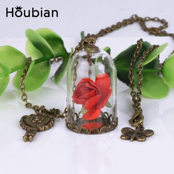 Houbian Retro Crystal Necklace Rose Glass Bottle Necklace Beauty The Beast Dry Flower Jewelry Necklace for Gift Women Girls