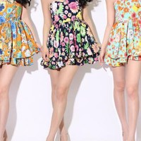 Retro Floral Print Tube Dress
