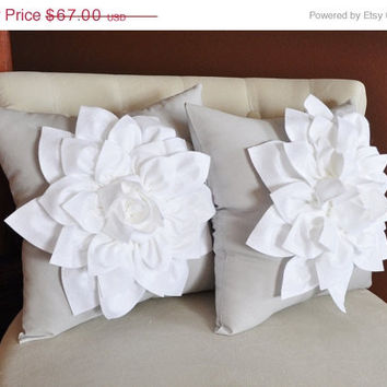 MOTHERS DAY SALE Two Decorative Pillows Flower Pillows -White Dahlias on Gray Pillows 14 X 14 Toss Pillow Throw Pillows