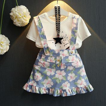 Brand  Spring And Summer Princess Dress  New  Girls Clothes  T-shirt+Broken Flower Skirt 3-7Y Children Clothes