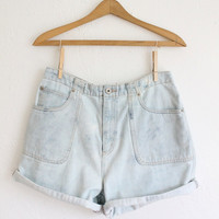 SUMMER SALE Vintage 80s Light Blue Bleached Denim Shorts // High Waisted White Denim