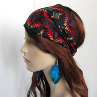 Navajo Southwestern Bandana Women's Head Wrap Multi Color and Black Aztec Cotton Print Headband