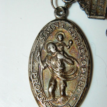 1800's Sterling Silver Crucifix  Saint Christopher Medal,  Antique, Behold this Heart, Jesus Nazarenus, Rex Judaeorum, Made in Italy