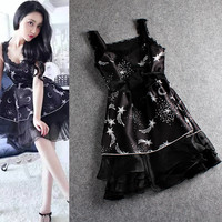 Black Strappy Stars And Moon Print Waist Band Hem Organza Mini Dress