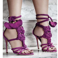 Fashion rose red high-heels weave hollow sandals shoes