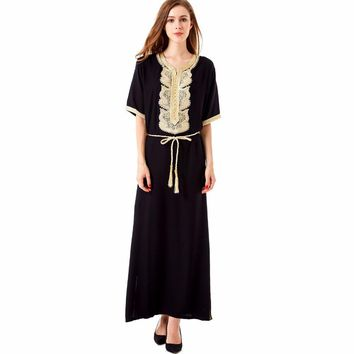 Women's Maxi Muslim Long Dubai summer casual Dress moroccan Kaftan Islamic Abaya Muslim abaya Turkish arabic dress robe1604