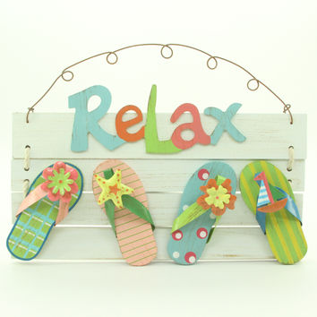 "Tropical Beach-Themed Wooden ""Relax"" sign"