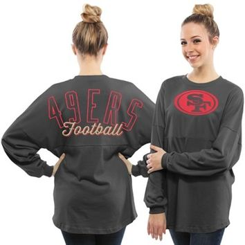Women's San Francisco 49ers Pro Line Charcoal Powder Puff Long Sleeve T-Shirt