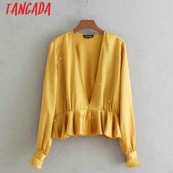 Tangada Women Star Sequined Shirts Long Sleeve V neck Ruffles Blouse Yellow Pink Ladies Sexy Casual Tops Blusa 3D23