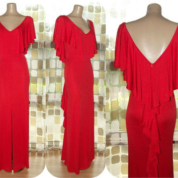 Vintage 70s AMAZING Red Rumba Ruffle Deep Plunge Maxi Dress Long Gown XL 1X Plus Size