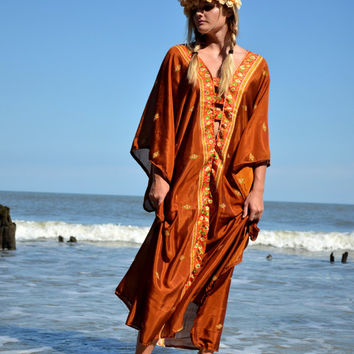 Bohemian Fall Hippie Kaftan dress, Bohemian gypsy Stevie nicks style Music Day tripper festival clothing, Mexicali Boho True rebel clothing