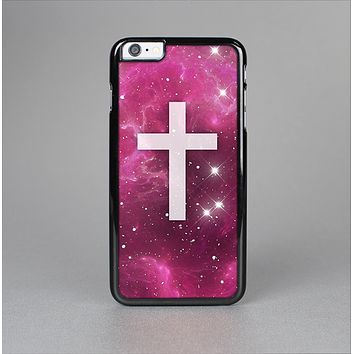 The Vector White Cross v2 over Glowing Pink Nebula Skin-Sert for the Apple iPhone 6 Plus Skin-Sert Case