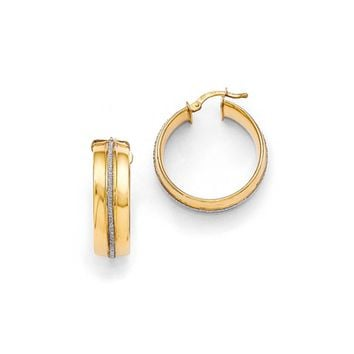 8mm Glitter Infused Round Hoop Earrings in Gold Tone Silver, 27mm