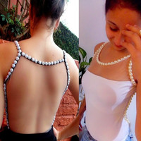 Sleeveless Blouses Style Beading Pearl Summer Casual Tops Sweaters Club Party S0 7_S