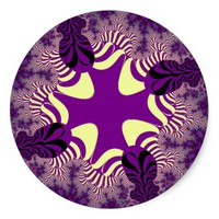 Royal Purple Star Large Round Stickers. Classic Round Sticker