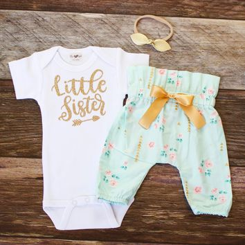 Gold Mint Floral Little Sister Newborn Outfit