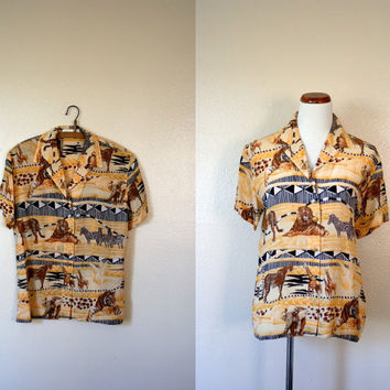 Vintage ESCADA Shirt / 80's Silk safari blouse / Large