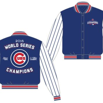 Chicago Cubs 2016 World Series Champions Poly-Twill Pin Stripe Jacket By JH Design