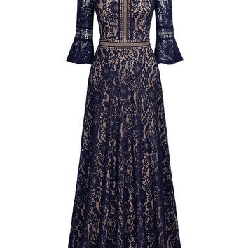 Vintage Full Lace Contrast Bell Sleeve A-Line Maxi Dress