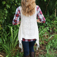 Cozy Knit Fringe Vest in Ivory