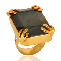 Natural Faceted Labradorite Gemstone 18K Yellow Gold Vermeil Statement Ring