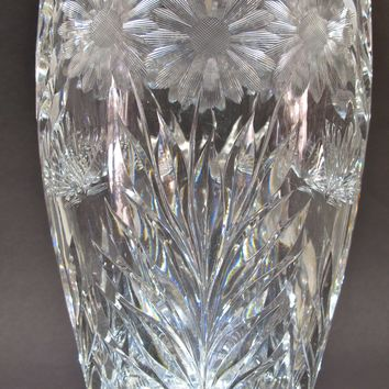 Butterfly American Brilliant Period Cut Glass oval vase Antique