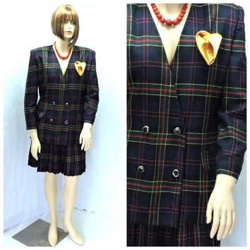 Vintage tartan suit / size 12 / 14 / 80s skirt suit / retro plaid  career dress suit /  blazer skirt 2 peice / SunnyBohoVintage
