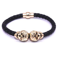 2016 Hot Selling Fashion Braided Leather Bracelets Gold Plated Skull Bracelet Men Punk Wrap Bracelet Women Jewelry
