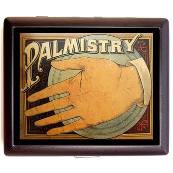 Vintage Palm Reading Palmistry Ad Image on Cigarette or Business Card Case or Metal ID wallet