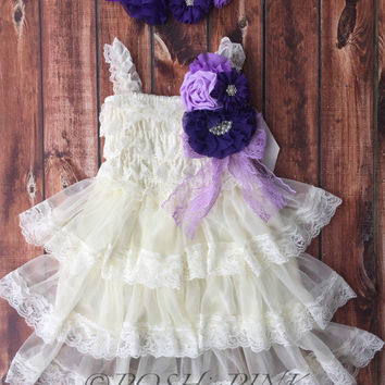Rustic girl dress, pin, ivory country purple, cream lace chiffon dress, flower girl, bridal wedding, shabby chic, vintage, ruffle, child