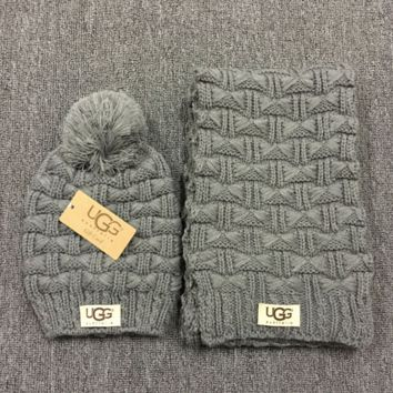 """Gucci"" Fashion Casual Trending Women Winter Knit Warmer Hat Cap Scarf Set Dark grey G"