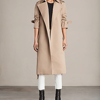ALLSAINTS US: Womens Miley Mac (SAND BROWN)