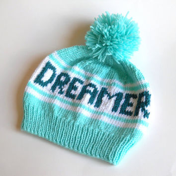 Dreamer Beanie, Retro Styled Beanie with Dreamer Tag, Turquoise Beanie, Handknit Hat, Aqua Pom Pom Beanie, Mint Winter Hat, Who Are You