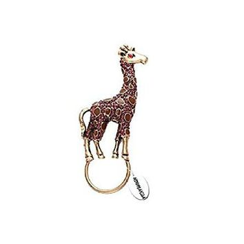 NOUMANDA Retro Jewelry Crystal Rhinestone Giraffe Brooch PinAnimal Magnetic Eyeglass Holder